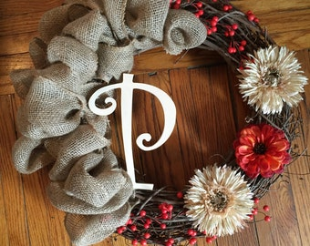 Initialed Grapevine and Burlap wreath