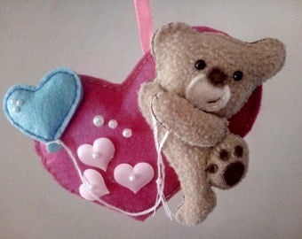 Felt ornament - Handmade felt heart ornament - a gift for your girlfriend or daughter