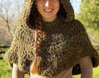 Fairy / Hunter Hooded Crocheted Poncho