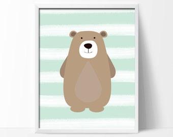 "Baby Bear Nursery Art Print. Woodland Bear Nursery Art Print. Suits Mint Nursery Decor. 1-8x10"" Digital Instant Download - S117"