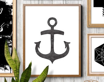 Minimalist wall art, black white affiche, anchor print, anchor printable art, boys nautical theme, boys room decor