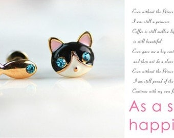 Cat and Fish  Stud Earrings for girls