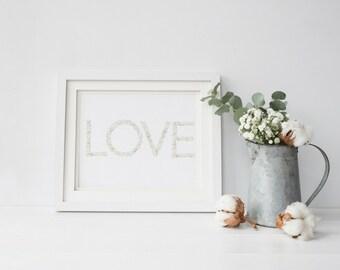 Inspirational Wall Art - Love - Motivational Print - Typography Print - Floral-  A4 Wall Art - Digital Art - Valentines Day