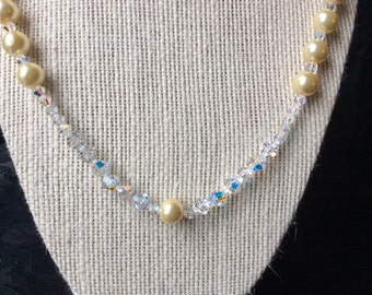 Beige Glass Pearl and Swarovski Crystal Necklace