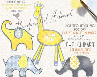 Elephant Digital Clip Art | Yellow Gray Grey Elephant | Giraffe Digital Clipart | Personal & Commercial Use | neutral nursery art