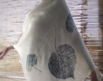 Indigo Natural Linen Shawl - Hand Printed. Eco friendly, large handmade scarf, linen summer scarf,  leaf print shawl, wraps scarves, mbpblue