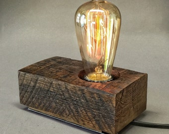 Wood block lamp #8
