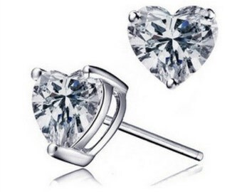 Heart Crystal Stud Earrings - Free Shipping