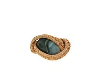 Banded Jasper Copper Ring Sz 7 1/4