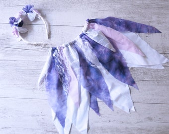 Violet Fairy Skirt Flower Crown Gypsy Purple Skirt Faerie Skirt Girls Birthday Outfit Shabby Chic Photo Prop Outfit Flower Girl Skirt