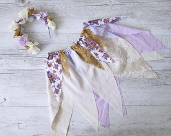 Lavender Fairy Skirt Flower Crown Gypsy Skirt Faerie Skirt Girls Birthday Outfit Shabby Chic Photo Prop Outfit Fairy Tutu Party Costume