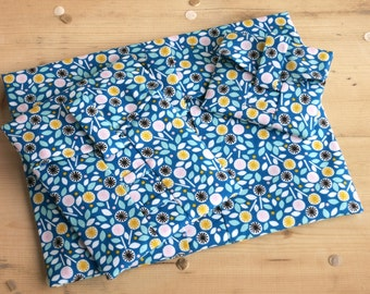 Organic Fabric Pouch-Cloud 9 Floret Blue. Reusable Gift Wrap, flower gift wrap, flower gift bag, fabric gift wrap. Small, Medium & Large