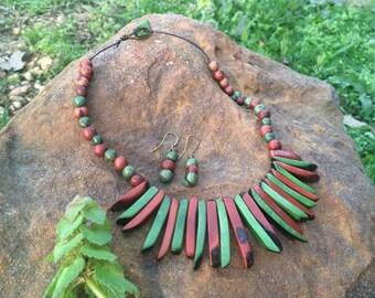 Tribal tagua necklace-acai beads earrings-brown and green acai beads necklace-eco friendly jewelry- tagua jewelry set brazilian jewelry