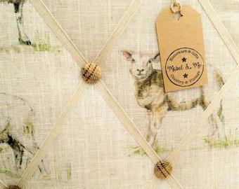 Fabric Memo Board, Sheep, Lambs, Pin Board, Handmade, A2 Size, Clarke Clarke Linen, Highland Wool, British Wildlife, Country Style