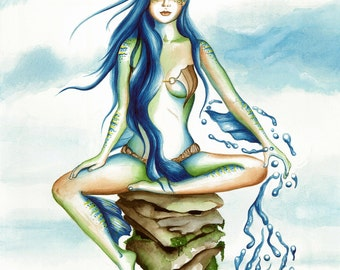 Water Elf,fantasy art,fantasy artwork,gift ideas, gifts,artwork,watercolor,prints for sale,fantasy paintings,blue hair,mermaid,water,ocean