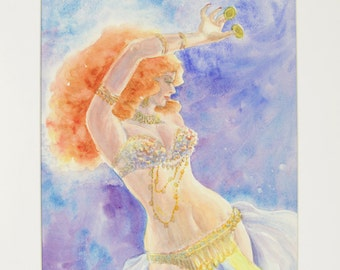 ORIGINAL painting, watercolor, female, woman, belly dancer, portrait, gift art, 18x24/mounted 22x28