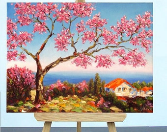 Original Oil Painting Blooming Sakura Impasto Mediterranean Landscape winter trends new year gifts art gift for her palette knife painting