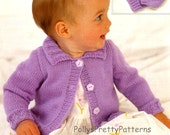 PDF Knitting Pattern - Baby Girls & Childs Jacket, Cardigan and Hat Set 16-26 Chests - Instant Download