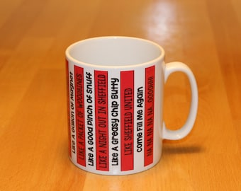 Sheffield United Fans Mug Red & White with Greasy Chip Butty lyrics SUFC