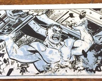 Hulk hefts a humvee: original art by Steve Lieber