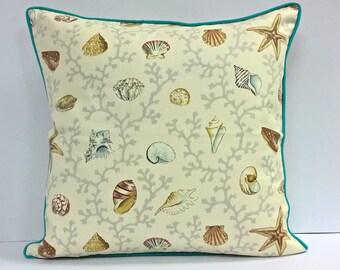"""Seashell Throw Pillow Cover, Cushion Cover. 18""""x18""""."""