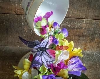 Floating Tea Cup Floral Arrangement - Perfect Spring Centerpiece