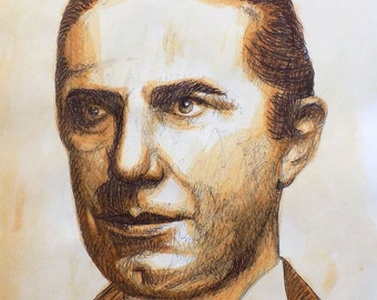 Original pen/watercolour picture of Bela Lugosi