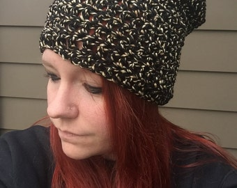 Black and Tan Crochet Hat