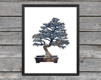 Bonsai Tree Poster Bonsai Print Bonsai Silhouette Bonsai Art Bonsai Outline Outer Space Art Galaxy Art Nebula Art Instant Download
