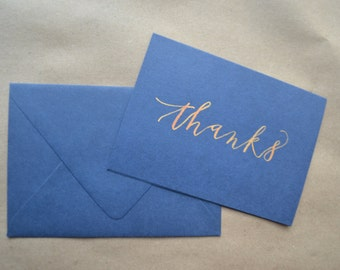 thank you note card set: navy blue and gold OR kraft paper and black OR custom colors