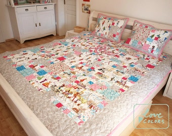 twin size quilt, made to order quilt, whimsy quilt, modern quilt, quilted bedding, patchwork, custom quilt, patchwork quilt, homemade quilt,