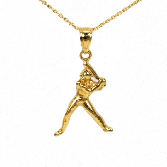 14k yellow gold baseball necklace