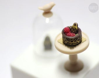 Chocolate Mini Cake with red berries - Russian Collection - Dollhouse - Miniature Food