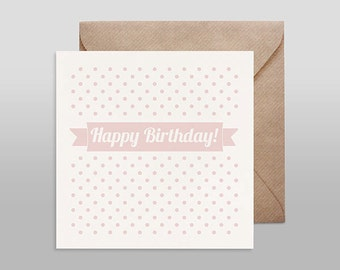 Screenprinted card HAPPY BIRTHDAY nude with kraft envelope