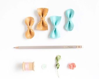 Summer Mini Leather Hair Bow Crocodile Clip or Nylon Headband, Robin Egg Blue & Ocher Yellow Leather with Hand Drawn White Polka Dots Baby