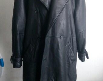 Stylish Long Vintage Black Smooth Genuine Leather Coat Men's Size Large.