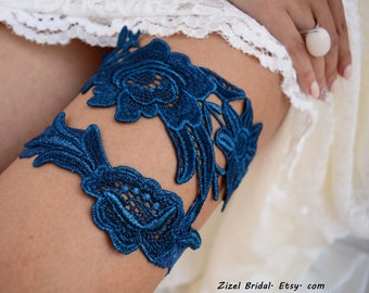Wedding Garter Set, Unique Bridal Garter, Teal Blue Garter, Lace Bridal Garter, Bridal Garters, Handmade Garter, Something Blue, Toss Garter