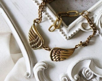 Double wings Chain Bracelet / Linen Jewelry /  Wings Bracelet