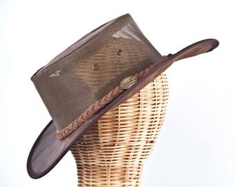Real Australian Kangaroo Leather Cooler Hat. Original Barmah Hat-in-a-Bag. Made in Australia. Brown Color