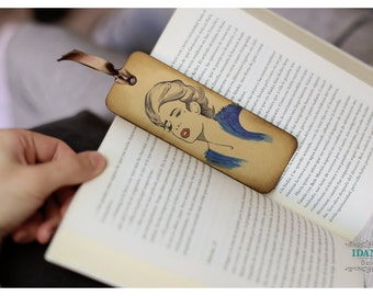 Bookmark / inking by hand / Marcapáginas Blue Woman, inking by hand