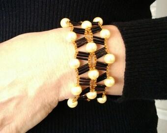 amazing design bracelet -blackgold or purple mocha gold  iridescent