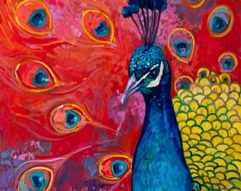 Beautiful peacock.Instant download.JPG and TIFF files for printing an original oil painting.