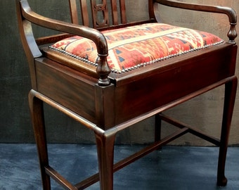 Antique Edwardian Mahogany Piano Stool/Chair Kelim style