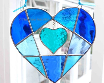 Stained Glass 'Heart Within A Heart' Shades of Blue Glass Art Suncatcher  - Designed and Handmade by The Glass Sea