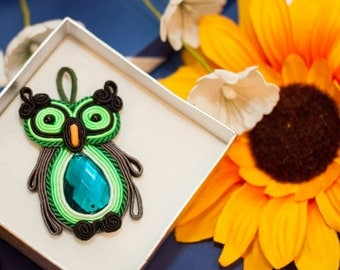 Soutache green owl pendant