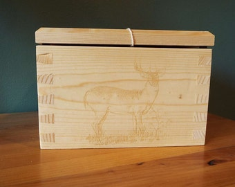Small Dovetail Box with Deer Etching