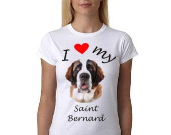 Saint Bernard shirt - I heart my Saint Bernard - Gift for the Saint Bernard Lover