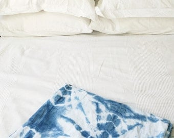 Shibori Stars Indigo Cotton Baby Swaddle Blanket