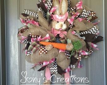 Easter wreath, bunny wreath, spring wreath, front door wreath,