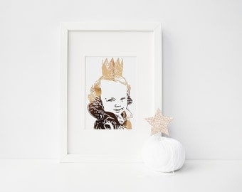 Personalised foil silhouette photograph - Children - Baby - Foil Print - Handmade - Prints279